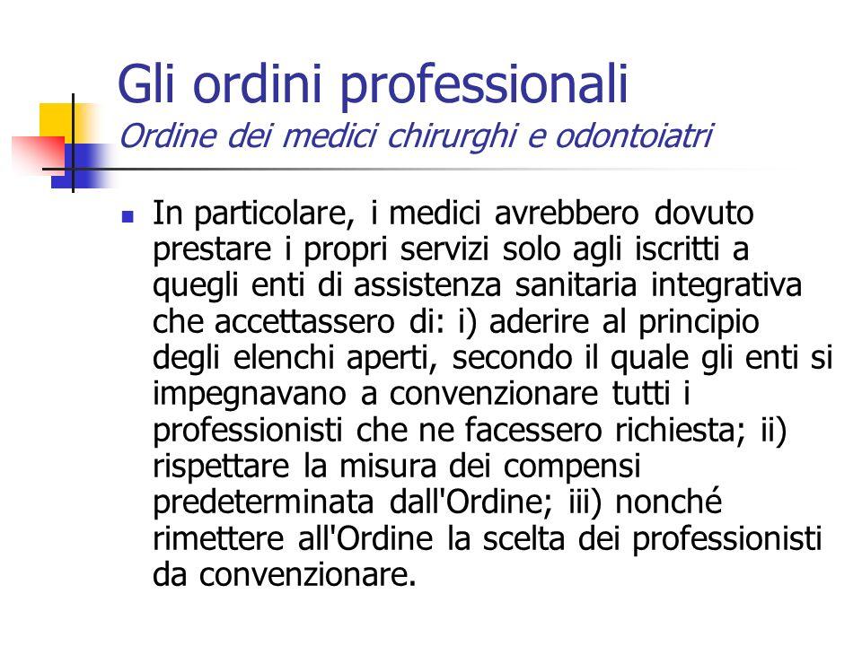 Gli ordini professionali Ordine dei medici chirurghi e odontoiatri
