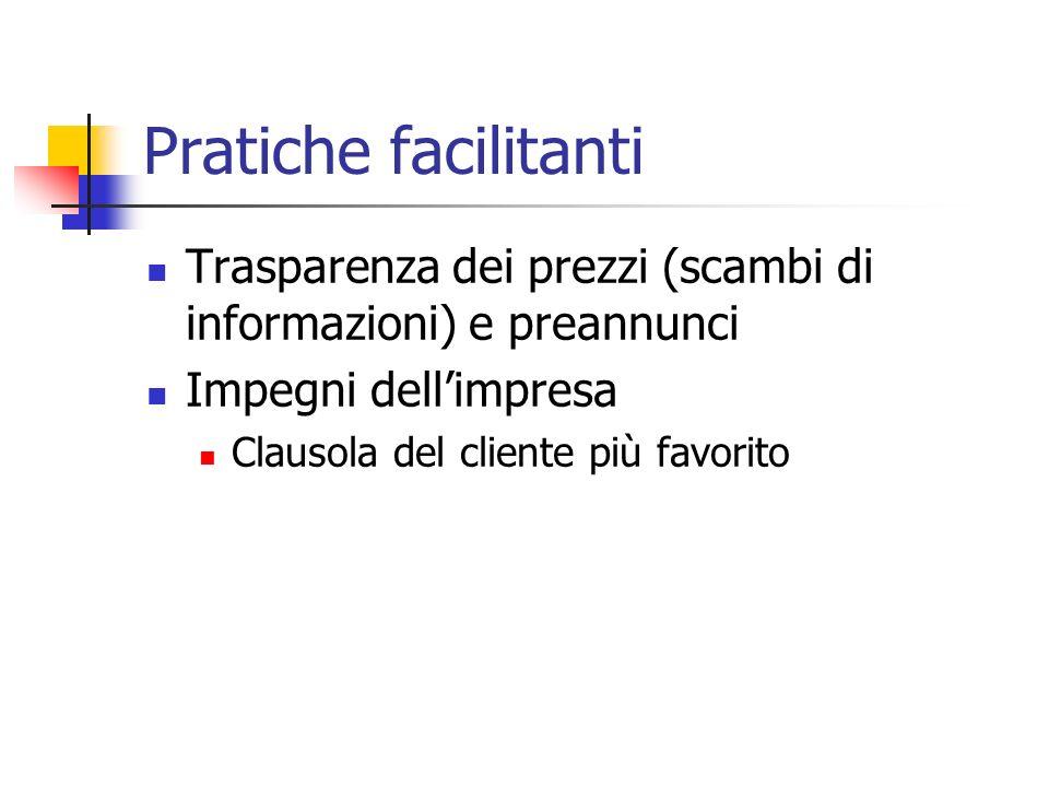 Pratiche facilitanti Trasparenza dei prezzi (scambi di informazioni) e preannunci. Impegni dell'impresa.