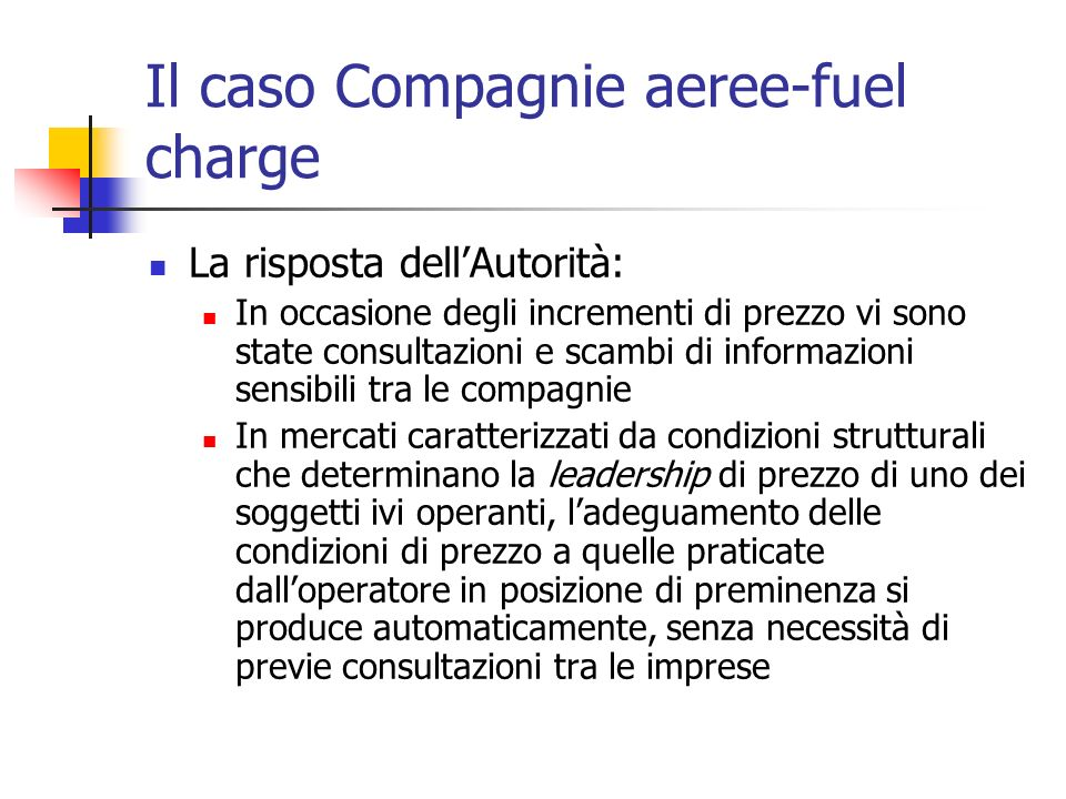 Il caso Compagnie aeree-fuel charge