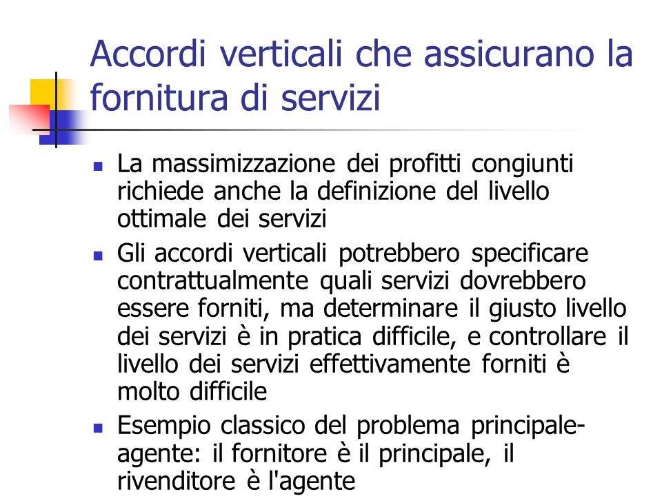 Accordi verticali che assicurano la fornitura di servizi