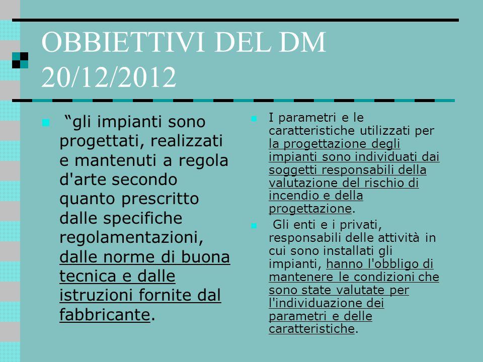 OBBIETTIVI DEL DM 20/12/2012