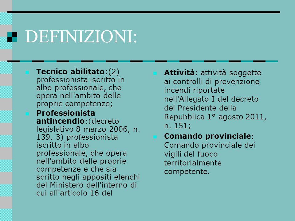 DEFINIZIONI: Tecnico abilitato:(2) professionista iscritto in albo professionale, che opera nell ambito delle proprie competenze;
