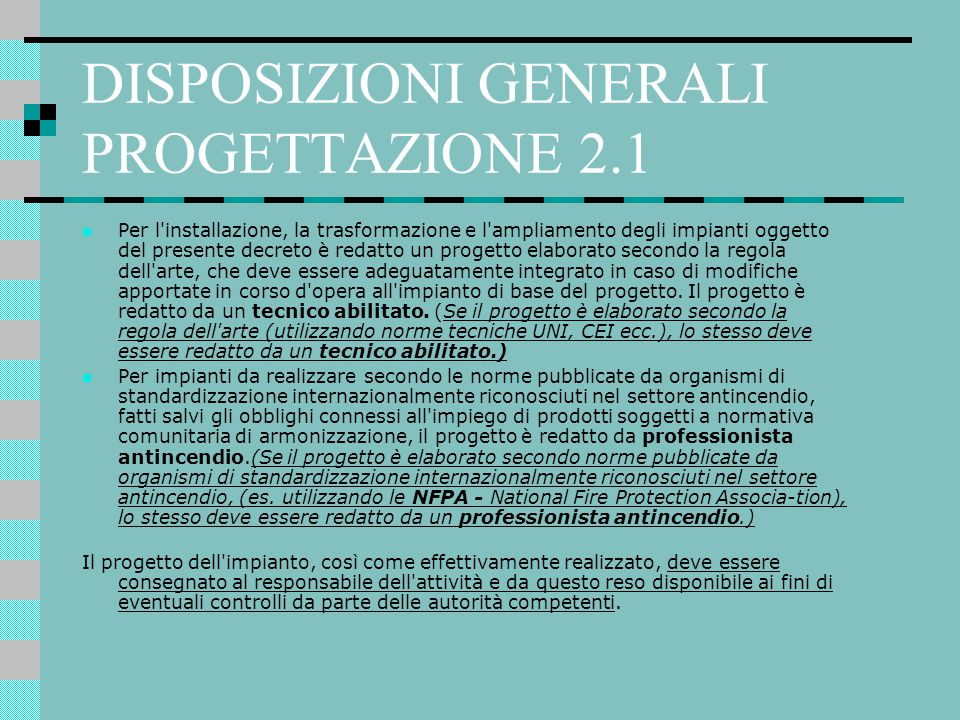 DISPOSIZIONI GENERALI PROGETTAZIONE 2.1