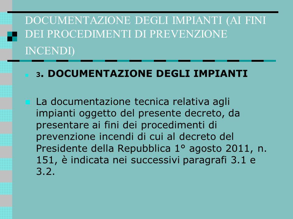 DOCUMENTAZIONE DEGLI IMPIANTI (AI FINI DEI PROCEDIMENTI DI PREVENZIONE INCENDI)