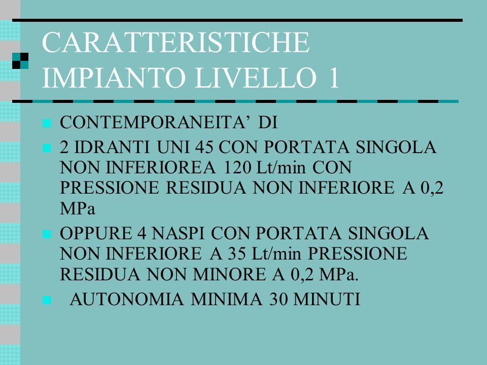 CARATTERISTICHE IMPIANTO LIVELLO 1