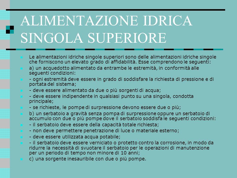 ALIMENTAZIONE IDRICA SINGOLA SUPERIORE