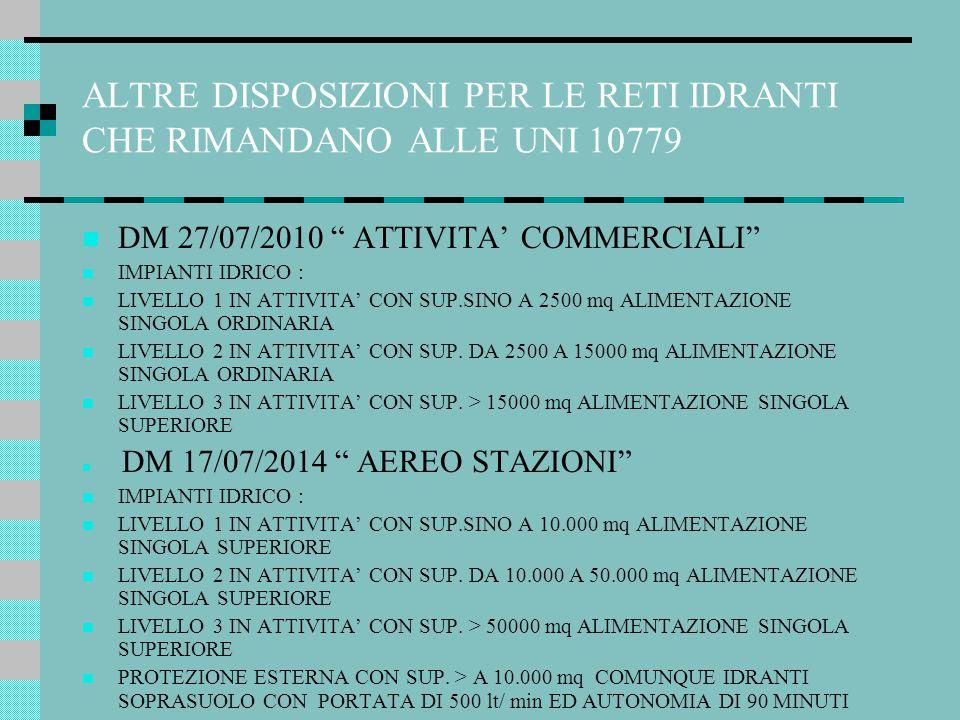 ALTRE DISPOSIZIONI PER LE RETI IDRANTI CHE RIMANDANO ALLE UNI 10779
