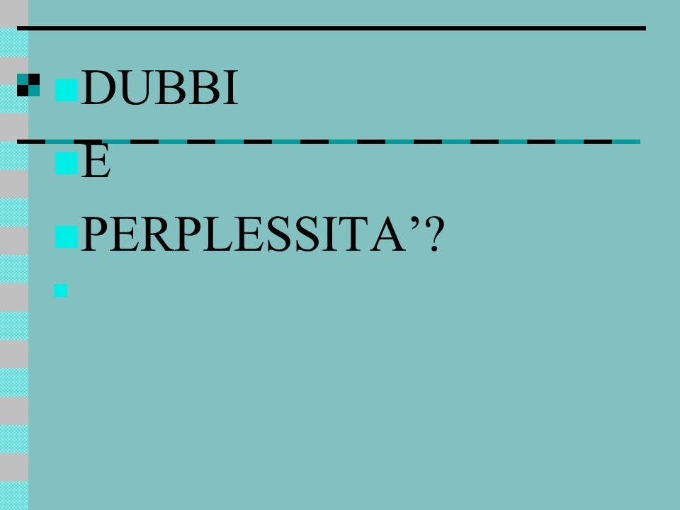 DUBBI E PERPLESSITA'