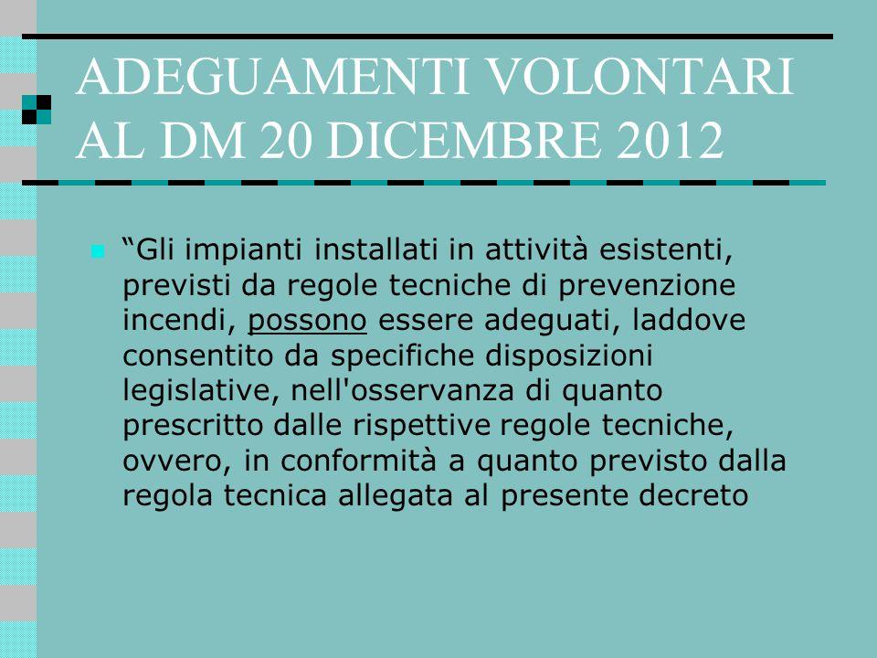 ADEGUAMENTI VOLONTARI AL DM 20 DICEMBRE 2012