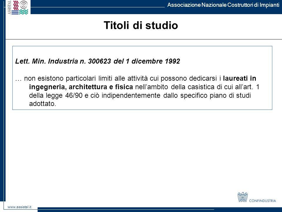 Titoli di studio Lett. Min. Industria n. 300623 del 1 dicembre 1992