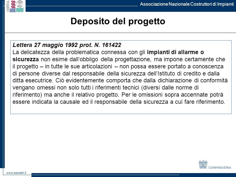Deposito del progetto Lettera 27 maggio 1992 prot. N. 161422
