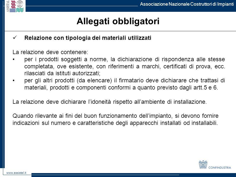 Allegati obbligatori Relazione con tipologia dei materiali utilizzati