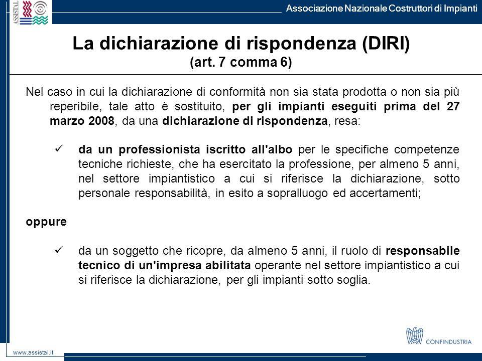 La dichiarazione di rispondenza (DIRI)