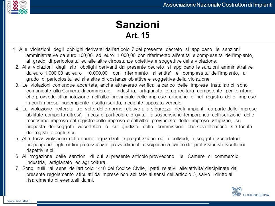 Sanzioni Art. 15 Associazione Nazionale Costruttori di Impianti