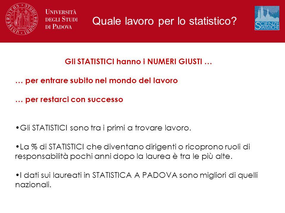 Gli STATISTICI hanno i NUMERI GIUSTI …