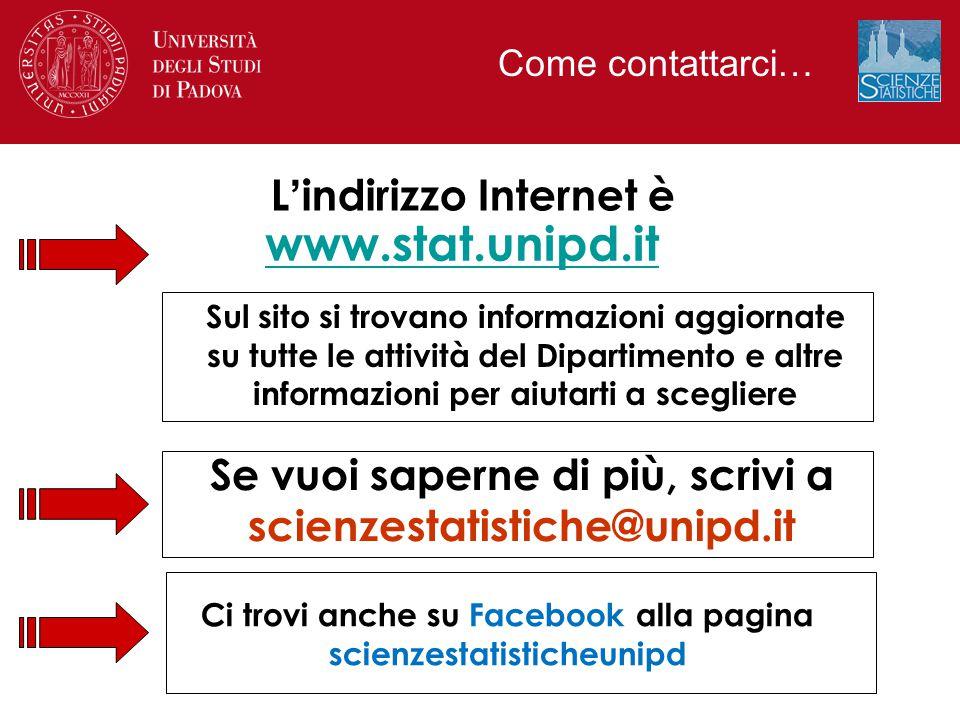 www.stat.unipd.it L'indirizzo Internet è