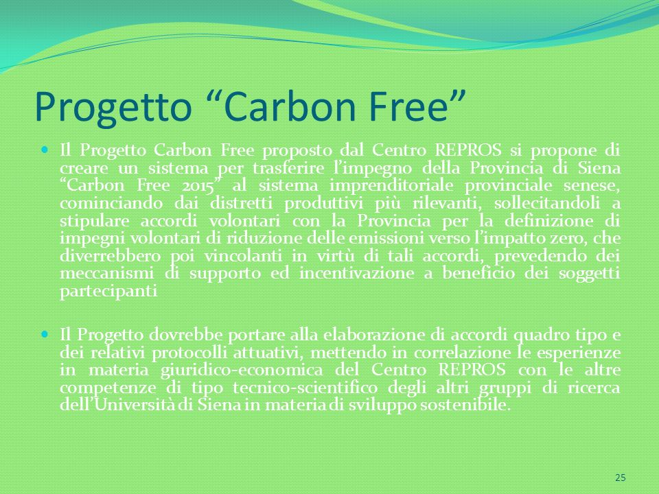 Progetto Carbon Free