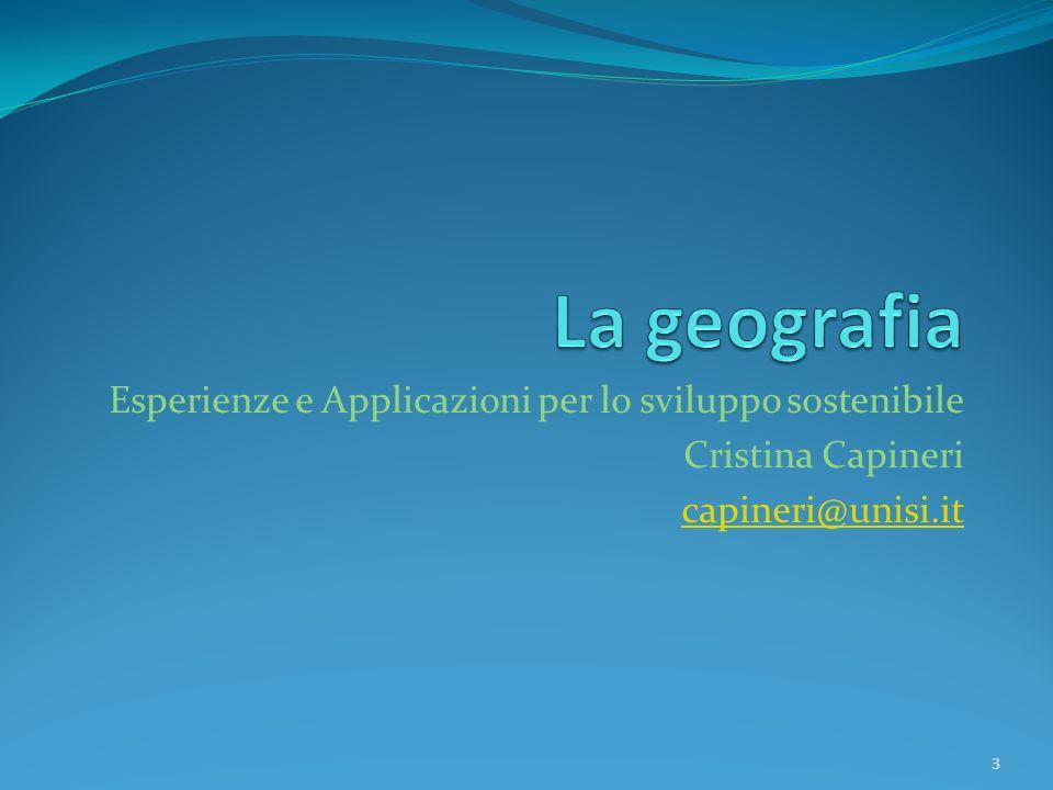 La geografia Esperienze e Applicazioni per lo sviluppo sostenibile