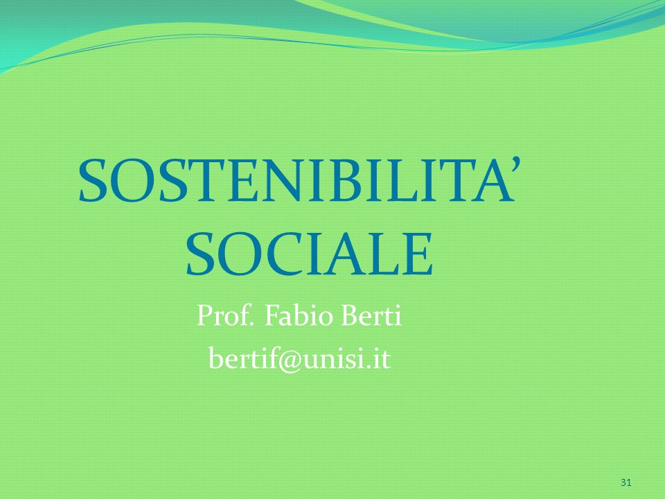SOSTENIBILITA' SOCIALE