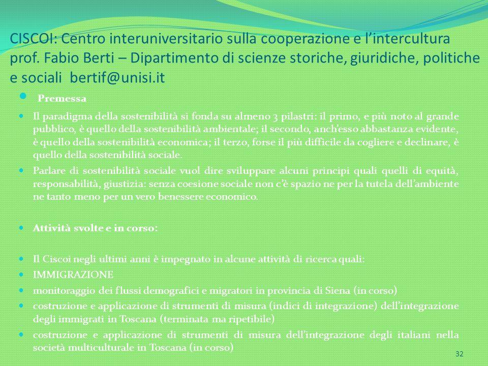 CISCOI: Centro interuniversitario sulla cooperazione e l'intercultura prof. Fabio Berti – Dipartimento di scienze storiche, giuridiche, politiche e sociali bertif@unisi.it