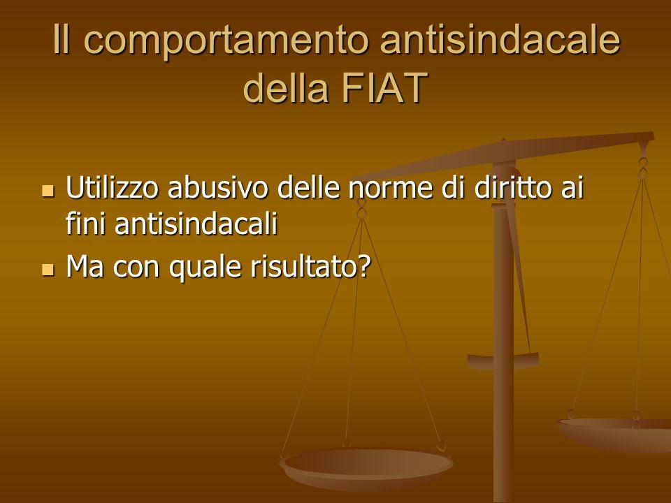 Il comportamento antisindacale della FIAT
