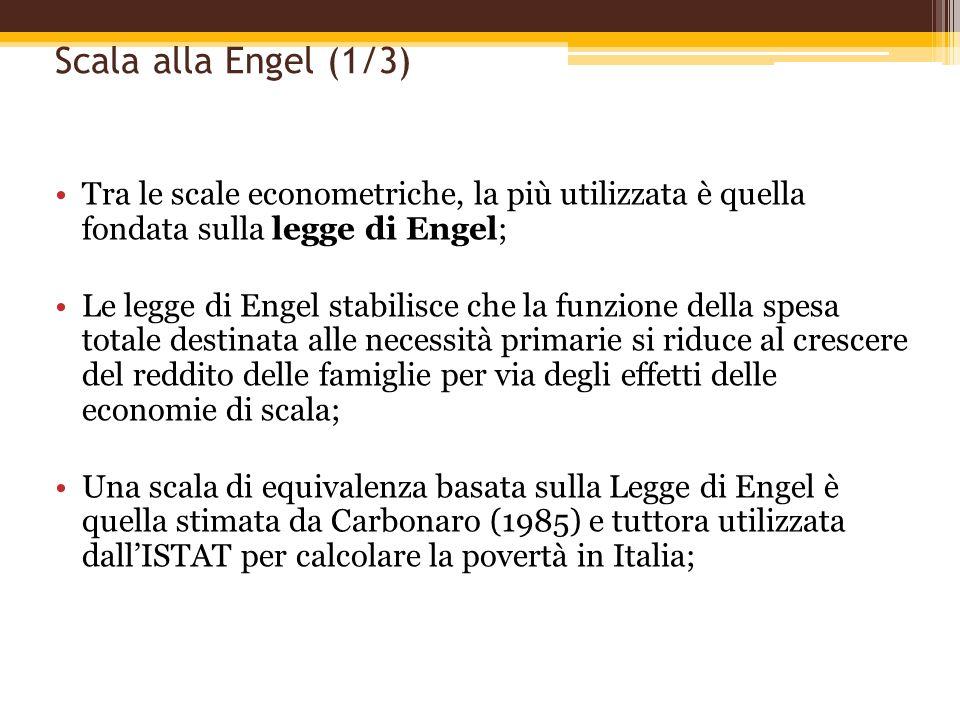 Scala alla Engel (1/3) Tra le scale econometriche, la più utilizzata è quella fondata sulla legge di Engel;