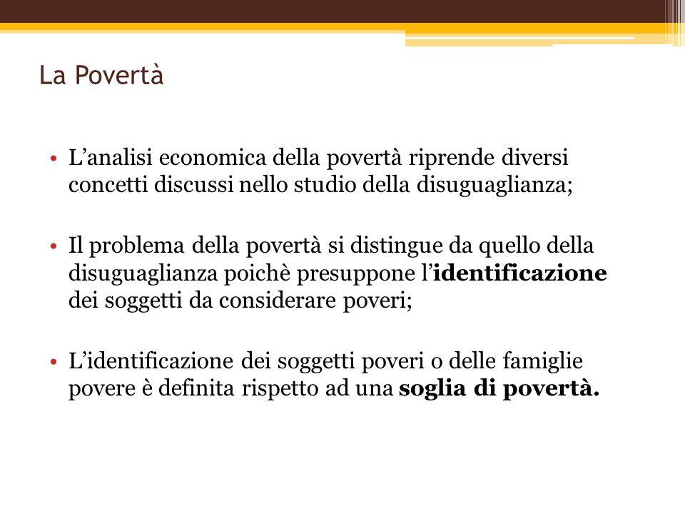 La Povertà L'analisi economica della povertà riprende diversi concetti discussi nello studio della disuguaglianza;