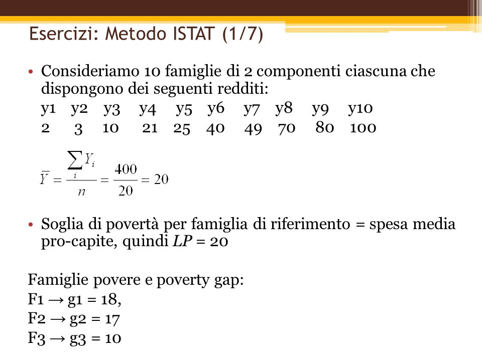 Esercizi: Metodo ISTAT (1/7)