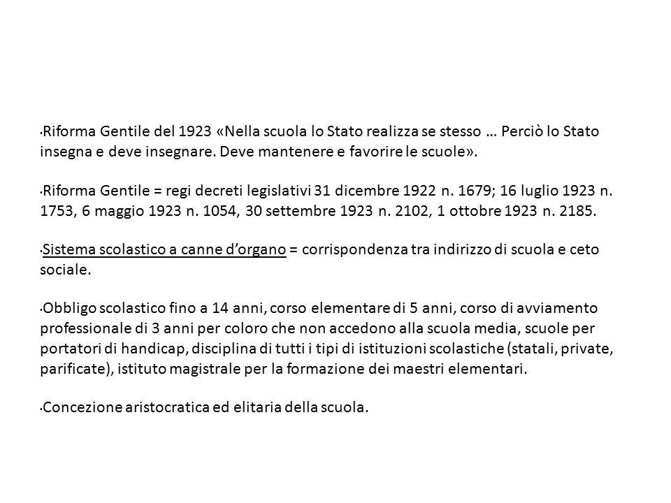 Riforma Gentile del 1923 «Nella scuola lo Stato realizza se stesso … Perciò lo Stato insegna e deve insegnare. Deve mantenere e favorire le scuole».