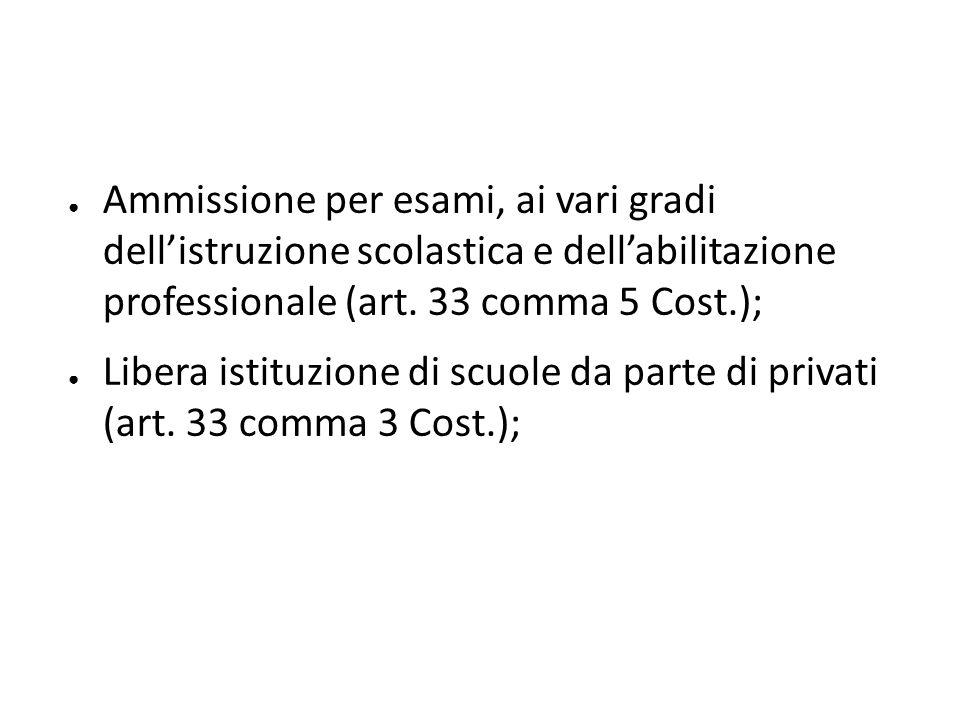 Ammissione per esami, ai vari gradi dell'istruzione scolastica e dell'abilitazione professionale (art. 33 comma 5 Cost.);