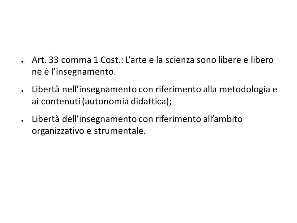 Art. 33 comma 1 Cost.: L'arte e la scienza sono libere e libero ne è l'insegnamento.