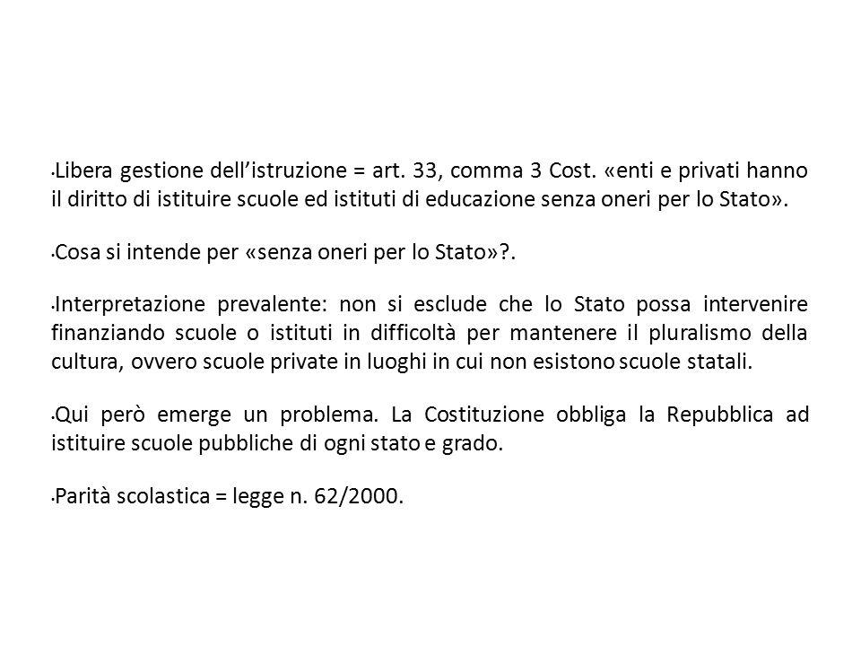 Libera gestione dell'istruzione = art. 33, comma 3 Cost