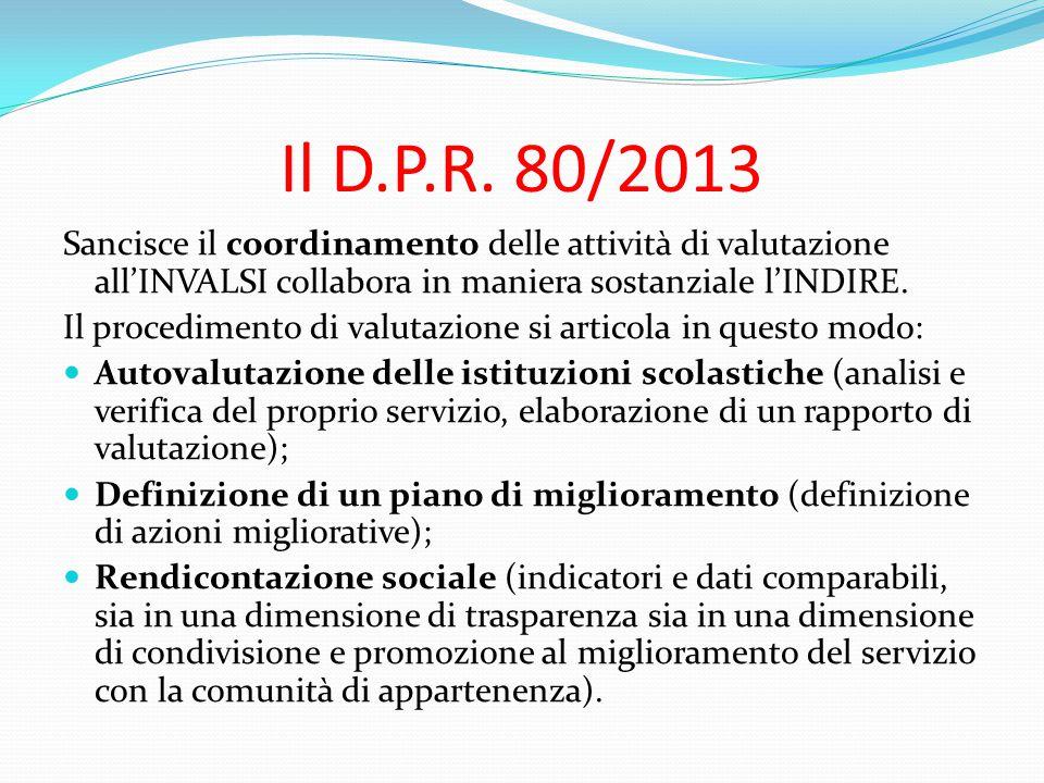 Il D.P.R. 80/2013 Sancisce il coordinamento delle attività di valutazione all'INVALSI collabora in maniera sostanziale l'INDIRE.