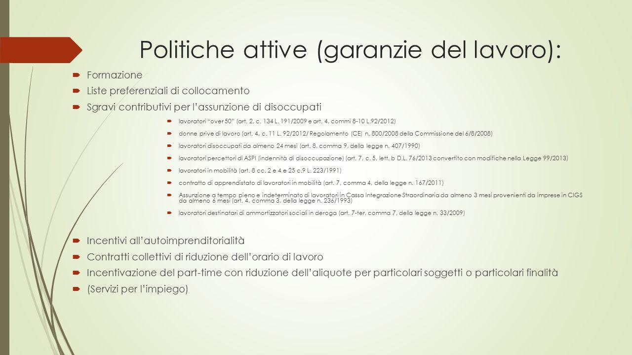 Politiche attive (garanzie del lavoro):