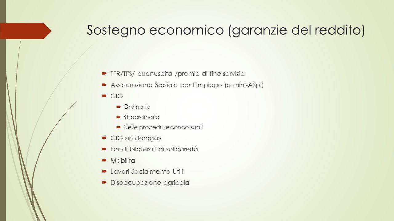 Sostegno economico (garanzie del reddito)