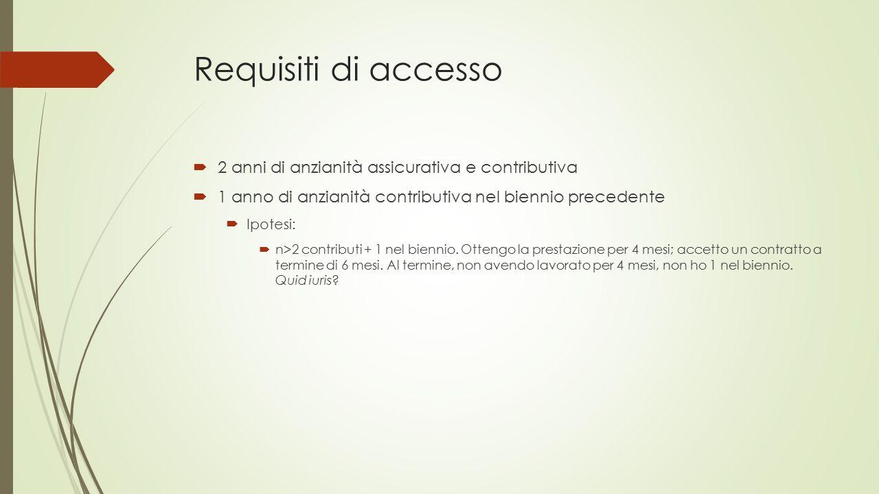 Requisiti di accesso 2 anni di anzianità assicurativa e contributiva