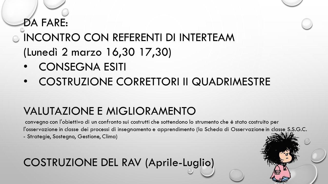INCONTRO CON REFERENTI DI INTERTEAM (Lunedì 2 marzo 16,30 17,30)