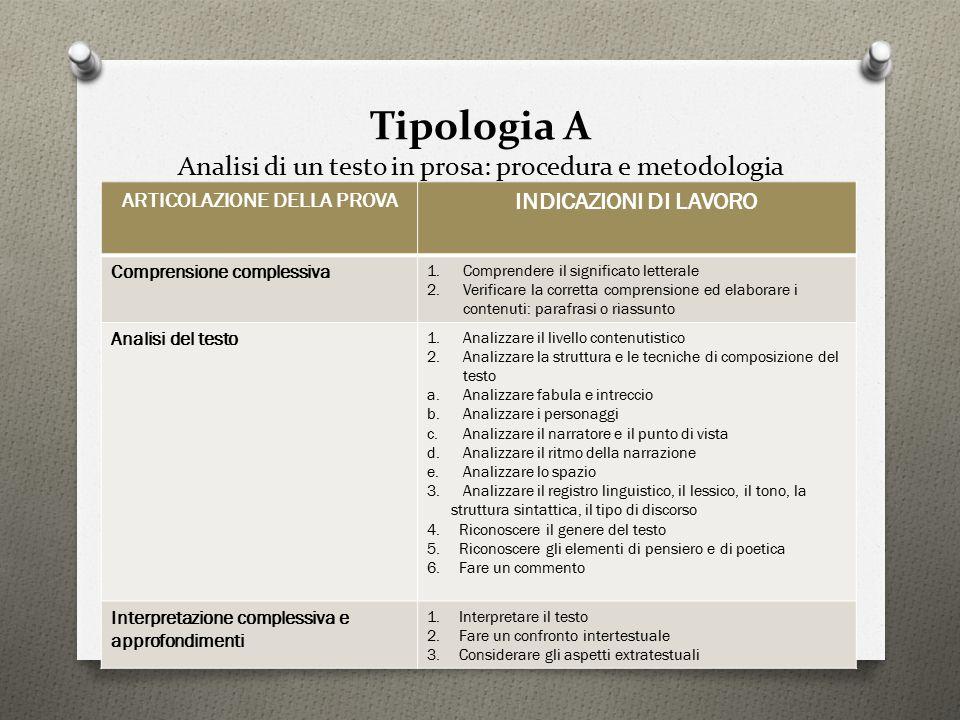 Tipologia A Analisi di un testo in prosa: procedura e metodologia