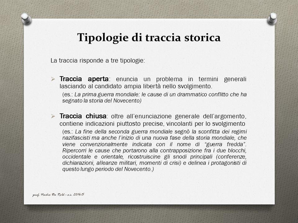 Tipologie di traccia storica