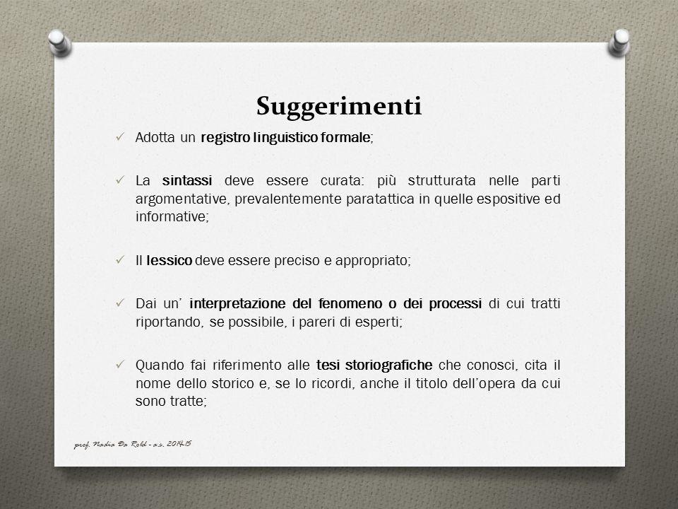 Suggerimenti Adotta un registro linguistico formale;