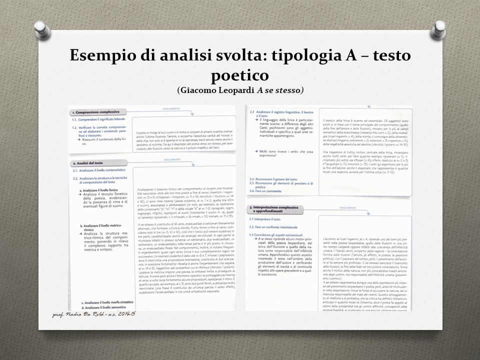 Esempio di analisi svolta: tipologia A – testo poetico (Giacomo Leopardi A se stesso)