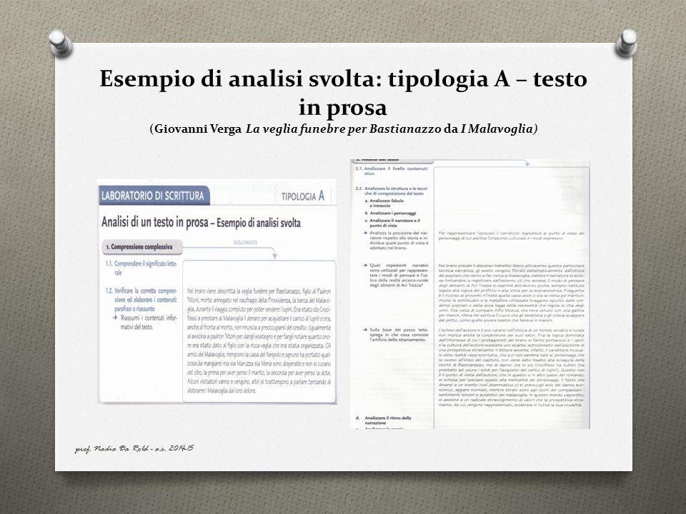 Esempio di analisi svolta: tipologia A – testo in prosa (Giovanni Verga La veglia funebre per Bastianazzo da I Malavoglia)