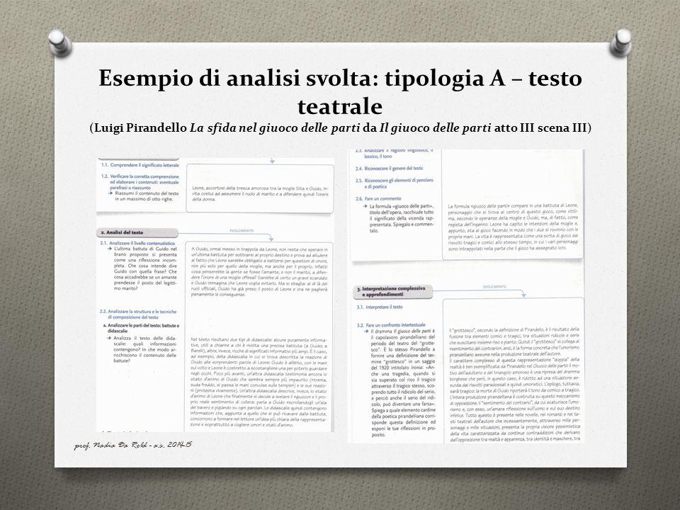Esempio di analisi svolta: tipologia A – testo teatrale (Luigi Pirandello La sfida nel giuoco delle parti da Il giuoco delle parti atto III scena III)