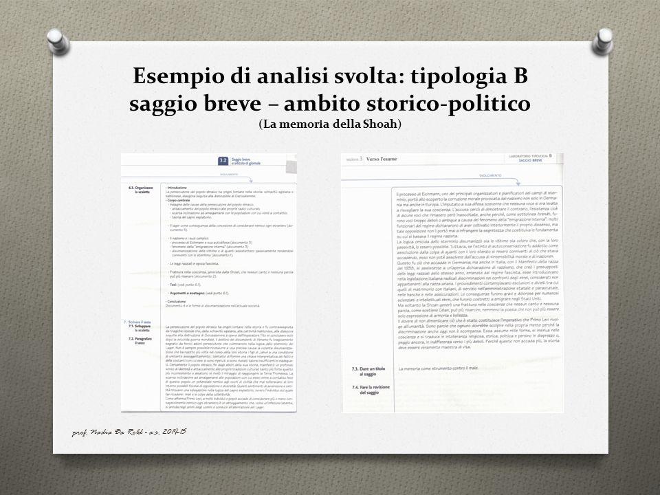 Esempio di analisi svolta: tipologia B saggio breve – ambito storico-politico (La memoria della Shoah)