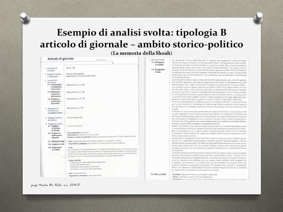 Esempio di analisi svolta: tipologia B articolo di giornale – ambito storico-politico (La memoria della Shoah)