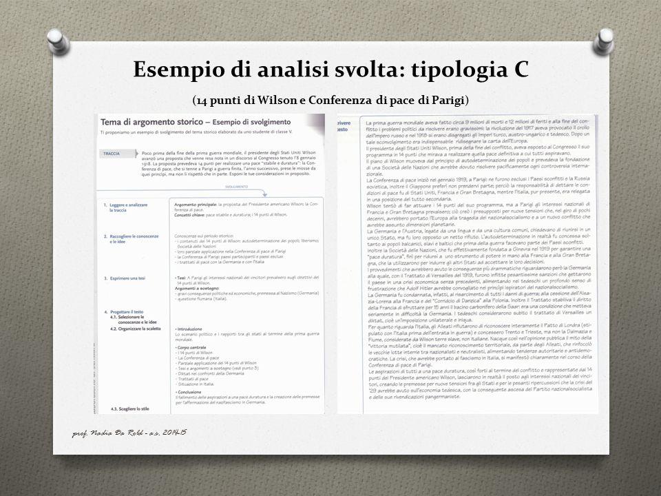 Esempio di analisi svolta: tipologia C (14 punti di Wilson e Conferenza di pace di Parigi)