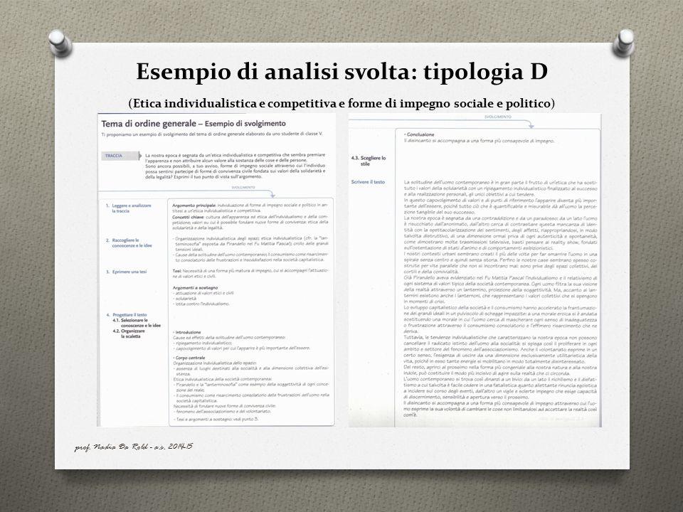 Esempio di analisi svolta: tipologia D (Etica individualistica e competitiva e forme di impegno sociale e politico)
