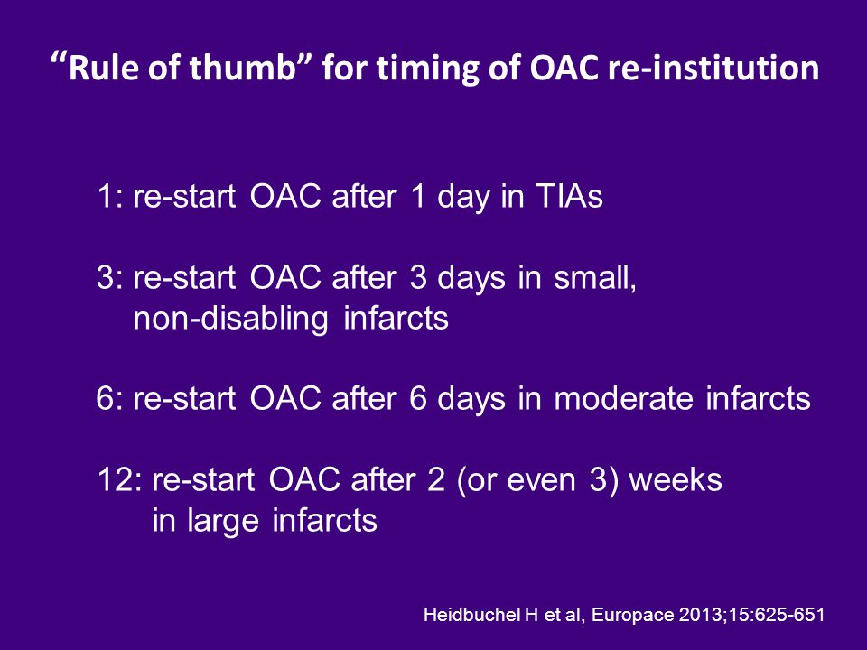 Rule of thumb for timing of OAC re-institution