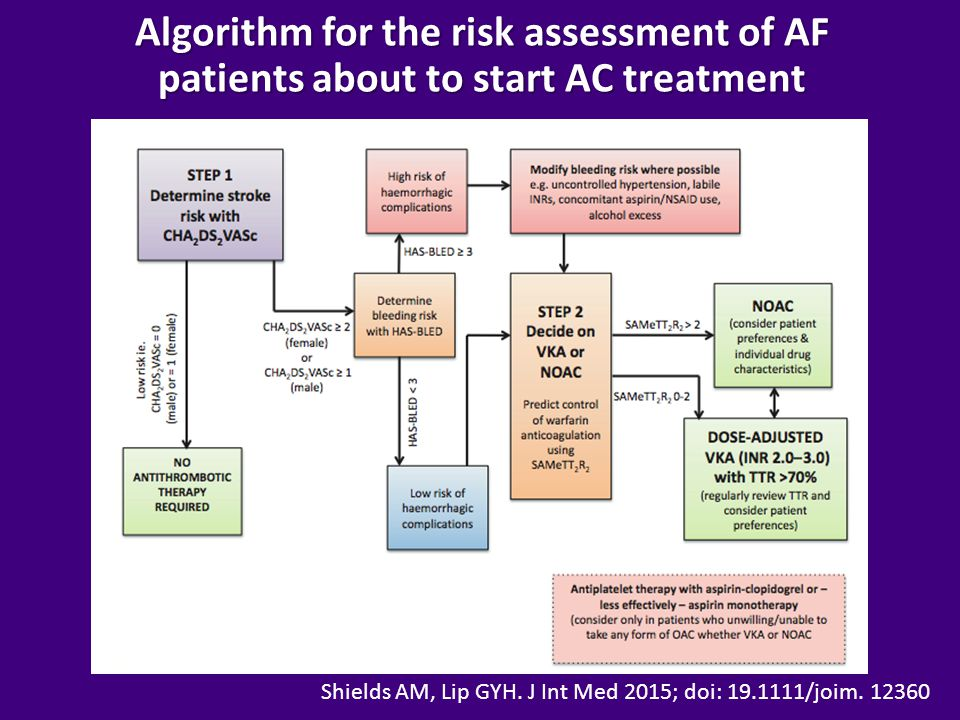 Algorithm for the risk assessment of AF patients about to start AC treatment