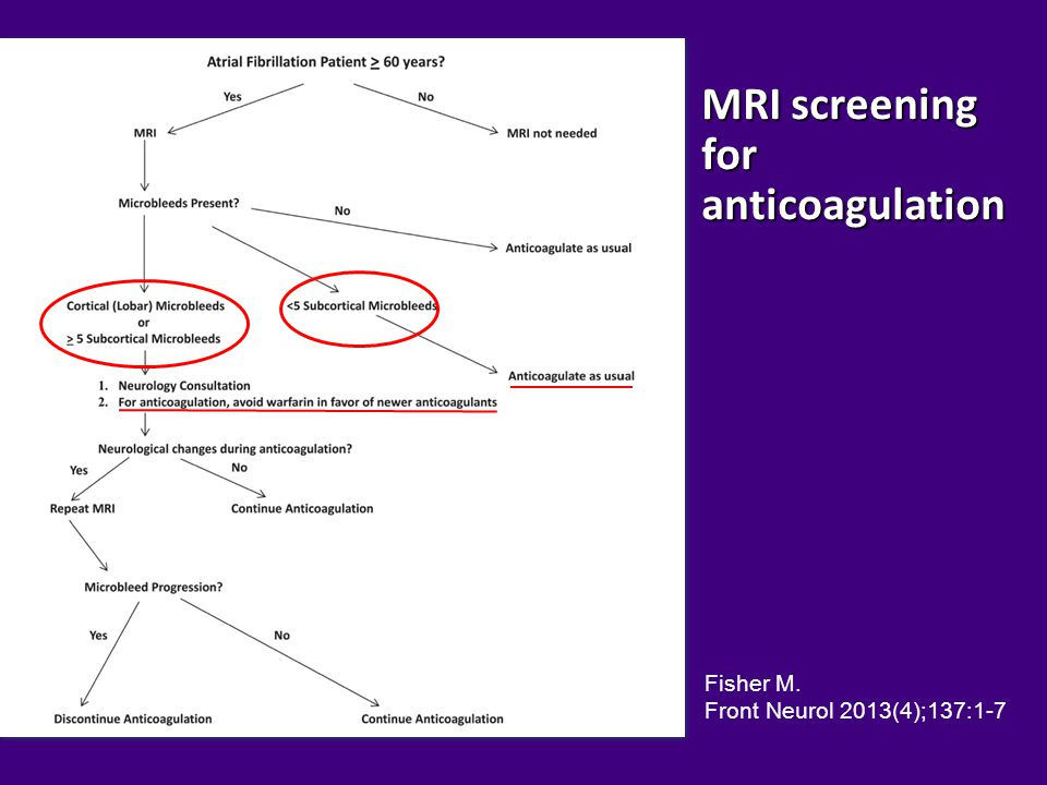MRI screening for anticoagulation
